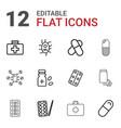 12 aspirin icons vector image vector image