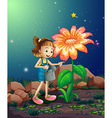A small girl watering the giant plant vector image vector image