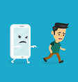 angry scary smartphone run for young man vector image