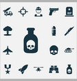 army icons set collection of weapons aircraft vector image vector image