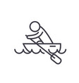 boat race kayaks rowing race flat line vector image