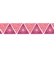 boho style pink triangles seamless border vector image vector image