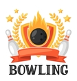 Bowling emblem with game objects Image for vector image