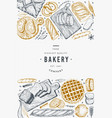 bread and pastry banner bakery hand drawn vector image vector image