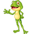 cartoon adorable frog waving hand vector image vector image