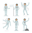cartoon characters astronauts person in different vector image