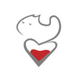 cat and heart symbol icon vector image vector image