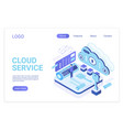 cloud service landing page isometric vector image vector image