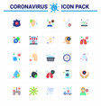 coronavirus awareness icons 25 flat color icon vector image vector image