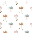cute coconut palm trees seamless pattern print vector image vector image