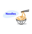 cute noodles ramen bowl cartoon comic character vector image