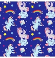 Cute unicorns clouds rainbow magic wand vector image vector image