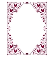 decorative hearts frame vector image vector image