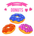 donuts set collection of tasty donuts with vector image vector image