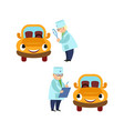 flat doctor and humanized car scene set vector image vector image