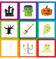 flat icon celebrate set of monster spirit vector image vector image