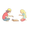 Girl And Guy Playing Chess vector image vector image