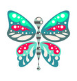 green and blue cartoon butterfly isolated vector image vector image