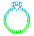 halftone blue-green ruby ring icon vector image