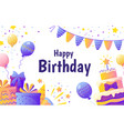 happy birthday banner invitation card for party vector image vector image