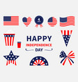 happy independence day icon set united states of vector image vector image