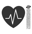 heart ekg icon with people bonus vector image vector image