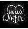 Hello winter text lettering with heart element vector image vector image