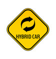 hybrid car caution sticker save energy automobile vector image vector image
