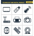 Icons set premium quality of computer technology vector image