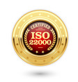 iso 22000 certified medal - food safety management vector image vector image