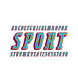 italic narrow serif bulk font in sport style vector image vector image