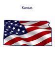 kansas full american flag waving in wind vector image vector image