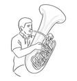 man playing tuba sketch doodle hand vector image