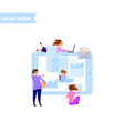 manage social media account - concept tiny people vector image vector image