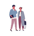 pensive guy and smiling girl in stylish outfit vector image vector image
