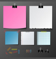 post note paper set on gray background vector image vector image