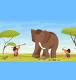 primitive caveman people hunt ancient woolly vector image vector image