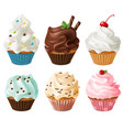 realistic cupcakes sweet creamy desserts muffins vector image vector image