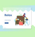 relax website landing page design template vector image vector image