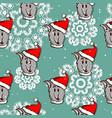 santa dog seamless pattern vector image vector image