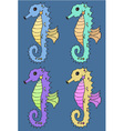 Seahorse cartoon set vector image vector image
