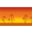Silhouette of palm with big sun scenery vector image