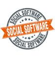 social software round grunge ribbon stamp vector image vector image