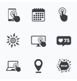 Touch screen smartphone Hand pointer symbols vector image vector image