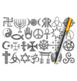 various religious symbols doodle set vector image