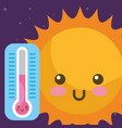 weather kawaii sun and thermometer hot vector image vector image