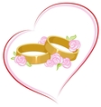 Wedding engagement rings with flowers vector image vector image