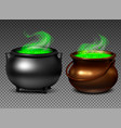 witch cauldrons with green potion vector image