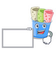 with board rolled ice creams in cartoon cups vector image vector image