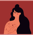 with long hair woman portrait mountain landscape vector image vector image